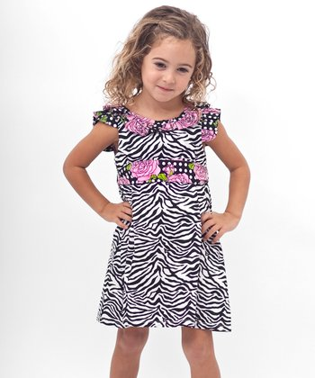 Black Zebra Rose A-Line Dress - Toddler