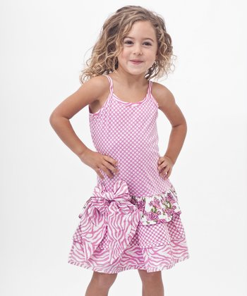 Pink Polka Dot Bow Drop-Waist Dress - Toddler & Girls