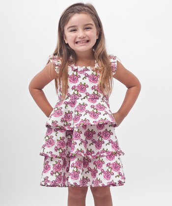 Pink Rose Ruffle Dress - Toddler & Girls
