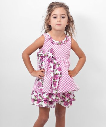 Pink Polka Dot Rose Surplice Back Dress - Toddler & Girls
