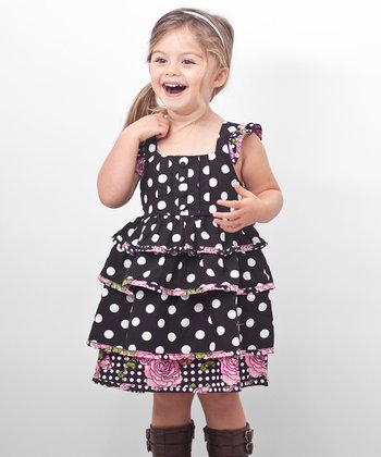 Black Polka Dot Babydoll Dress - Toddler