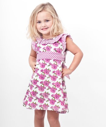 Pink Rose A-Line Dress - Toddler & Girls