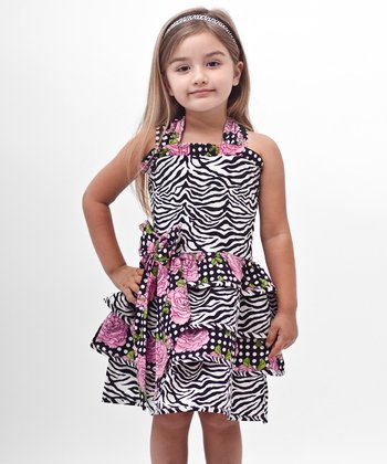 Black Zebra Bow Ruffle Dress - Girls