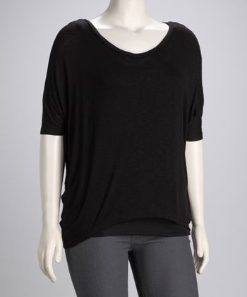 Black Bali Shirttail Top - Plus