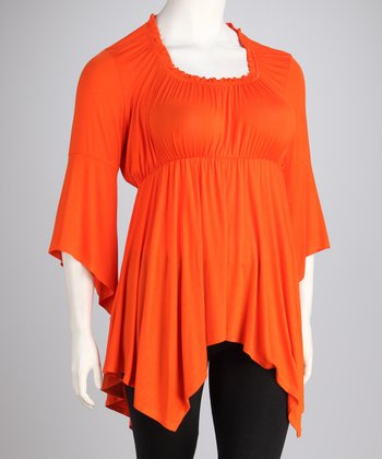 Orange Citra Handkerchief Hem Top - Plus