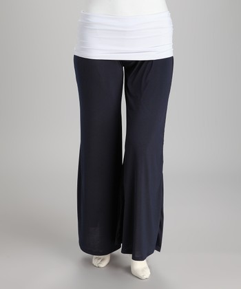 Navy & White Fold-Over Lounge Pants - Plus