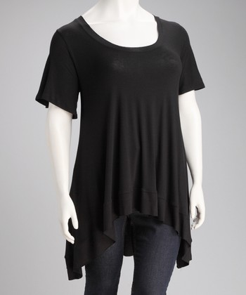 Black Desere Sidetail Top - Plus
