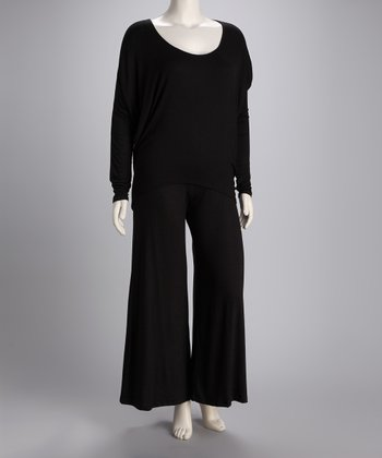 Black Elegant Hi-Low Top & Palazzo Pants Set - Plus