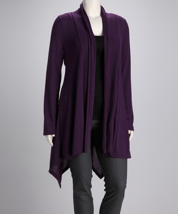 Purple Jasmin Open Cardigan - Plus