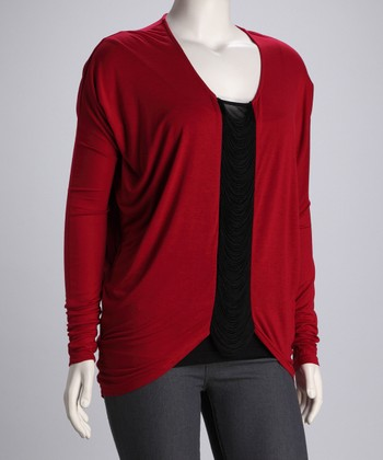 Burgundy Fringe Plus-Size Top