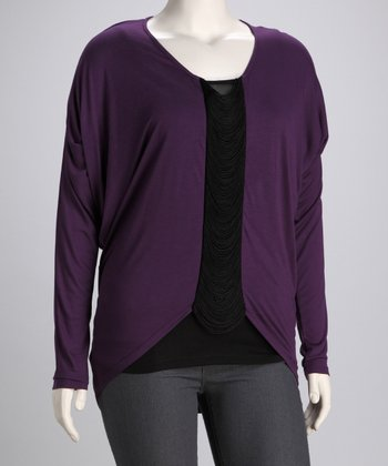 Purple Fringe Top - Plus