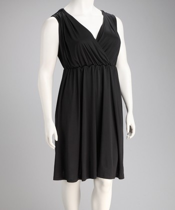 Black Monaco Surplice Dress - Plus