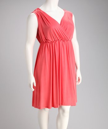 Coral Surplice Monaco Dress - Plus