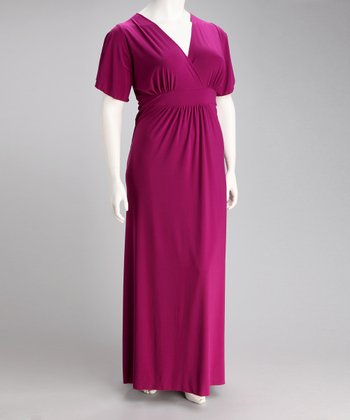 Fuchsia Paris Angel-Sleeve Maxi Dress - Plus