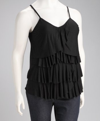 Black Ruffle Rose Plus-Size Tank
