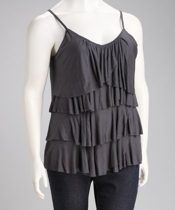 Gray Ruffle Rose Plus-Size Tank