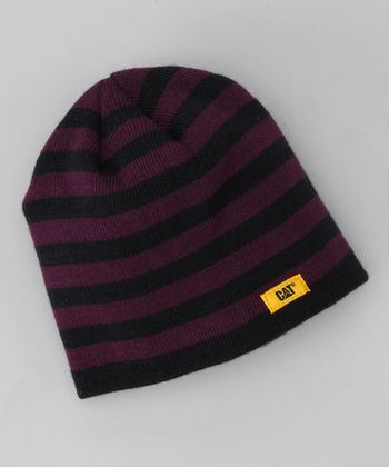 Grape Stripe Knit Beanie