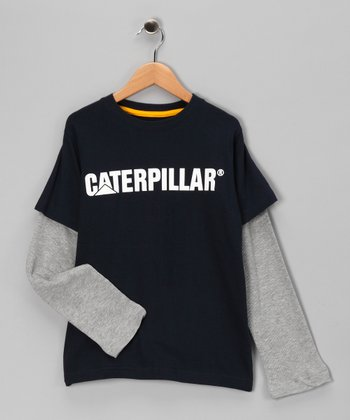 Navy Blue Thermal Layered Tee - Kids