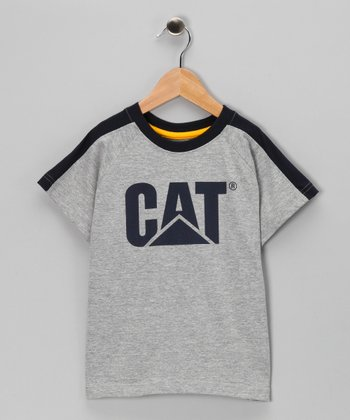 Heather Gray Color Block Logo Tee - Kids