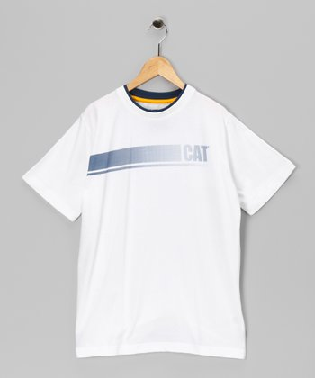 White Contrast Stripe Tee - Kids