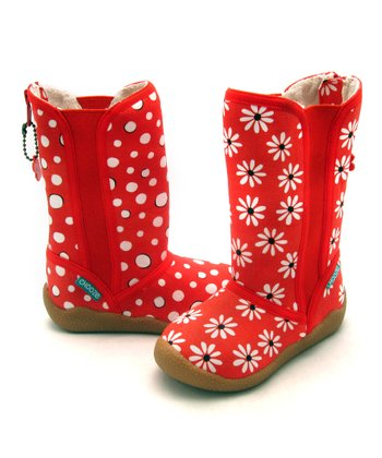 Red & White Circle Behave Dig Boot - Kids