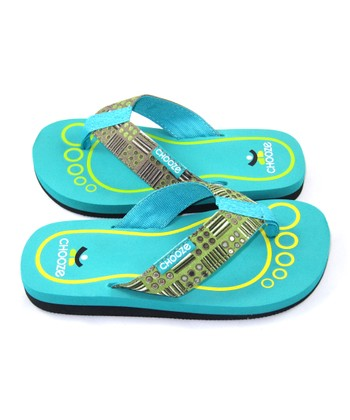 Green & Aqua Check Chill Flip-Flop - Kids