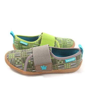 Green & Olive Check Soar Shoe - Kids