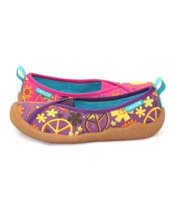 Pink & Purple Peace Laugh Shoe - Kids