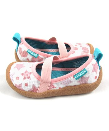 Pink & White Shine Spin Shoe - Kids
