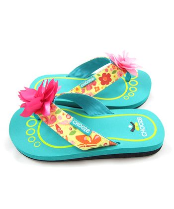 Pink & Yellow Spring Garden Chill Flip-Flop - Kids