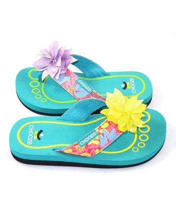 Purple & Yellow Tropical Chill Flip-Flop - Kids