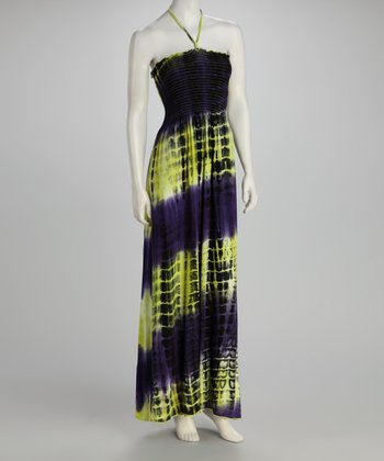 Purple & Lime Tie-Dye Smocked Maxi Dress