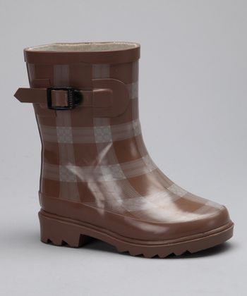 Camel Plaid Rain Boot