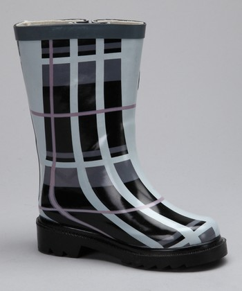 Gray Plaid Rain Boot