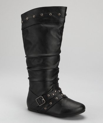 Black Smooth Studded Betty Boot