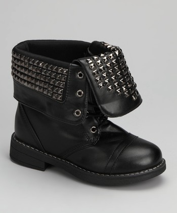 Black Studded Folded Candy Boot