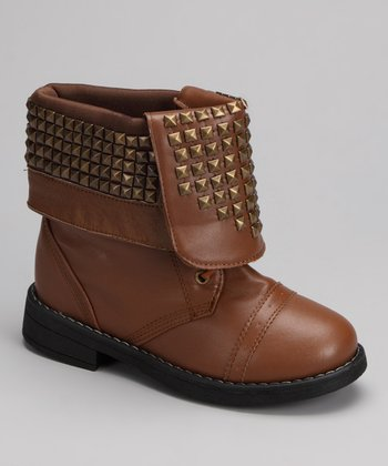 Chestnut Studded Folded Candy Boot