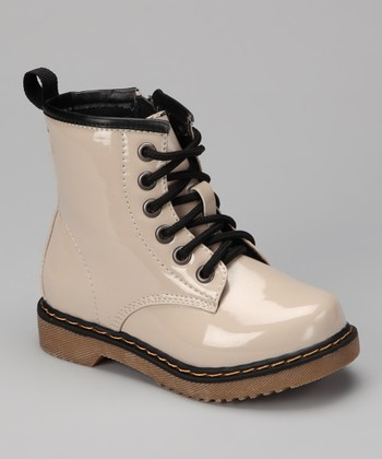 Beige Patent Jane Boot