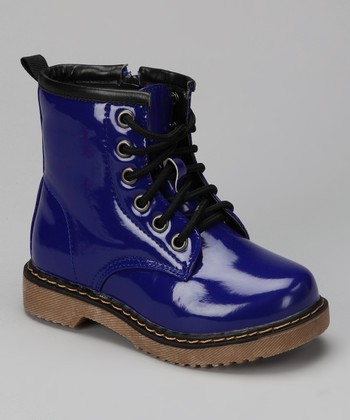 Blue Patent Jane Boot