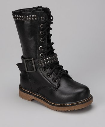 Black Studded Moto Boot