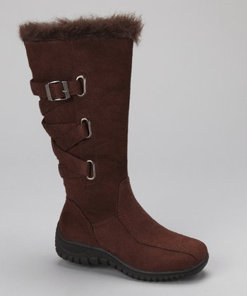 Brown Crisscross Buckle Tina Boot
