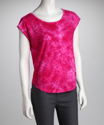 COIN 1804 Hot Pink Tie-Dye Top