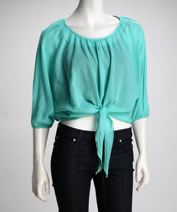 Aqua Sheer Front-Tie Top