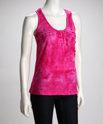 COIN 1804 Hot Pink Tie-Dye Pocket Tank