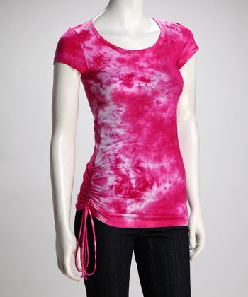 COIN 1804 Hot Pink Tie-Dye Cinched Top