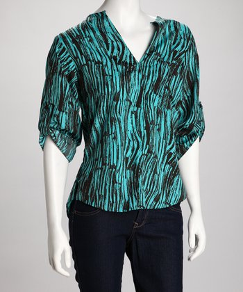 Teal Zebra V-Neck Top