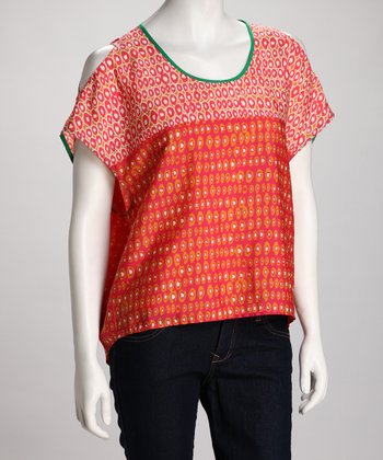 Coral Dot Split-Sleeve Top