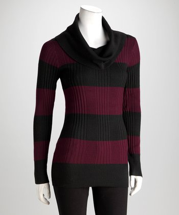 Black & Aubergine Stripe Cowl Neck Sweater