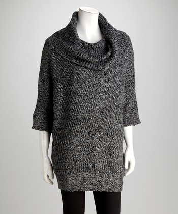 Black & Heather Gray Poncho Sweater