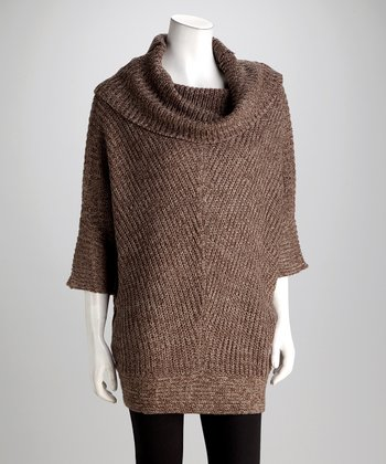Khaki & Nutmeg Poncho Sweater